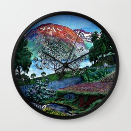 'June Night, Fjord Lakeside, in the Garden' alpine landscape painting by Nikolai Astrup Wall Clock