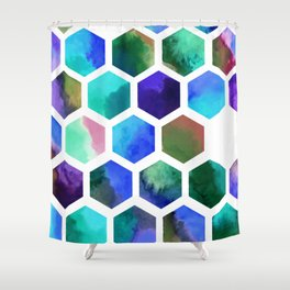 Blue Hexagons Shower Curtain