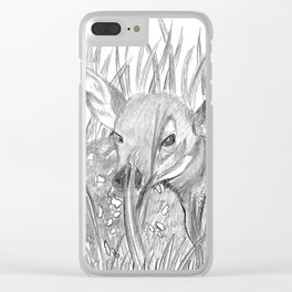 Fawn in grass Clear iPhone Case