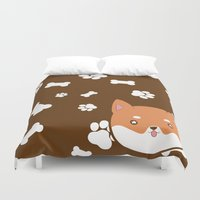 shiba inu Duvet Covers featuring PupPrints - Shiba Inu by caro.di