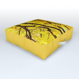 Fall Branches, Golden Yellow Linden Tree Outdoor Floor Cushion