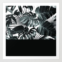 Palm Leaves and Black Art Print