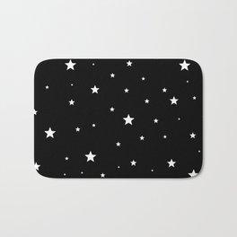 Scattered Stars - white on black Bath Mat