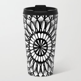 Petal Mandala Ink Drawing Travel Mug