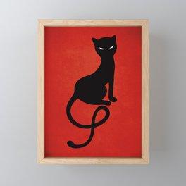 Red Gracious Evil Black Cat Framed Mini Art Print