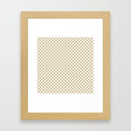 Large Christmas Gold Polka dots on White Framed Art Print