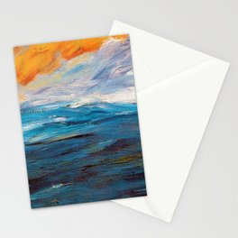 Ocean Sunset in Autumn landscape painting by Emil Nolde Stationery Cards