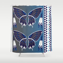 Butterfly Nation Blue Shower Curtain