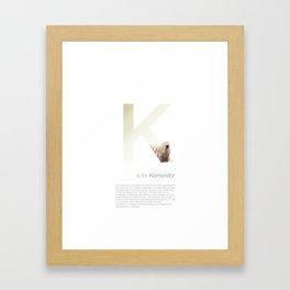 K is for Komondor Framed Art Print