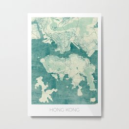 Hong Kong Map Blue Vintage Metal Print