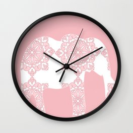 Animals Illustration - Pink Damask Elephant Wall Clock