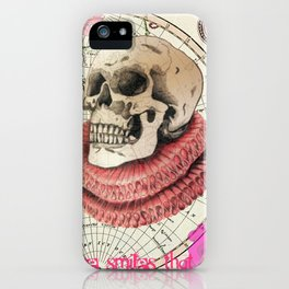 Skull print with Tudor Ruff and map illustration iPhone Case