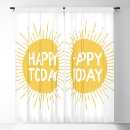 Happy Today - Yellow Sunshine Quote Blackout Curtain