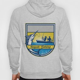 Kayak Fishing Blue Marlin Badge Hoody