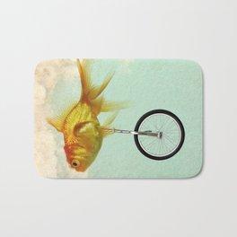 unicycle gold fish -2 Bath Mat