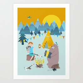 adventure with bear Art Print