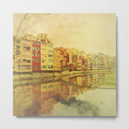 The river that reflects the city Metal Print