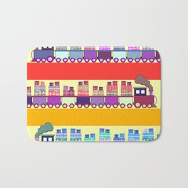 Colorful trains with Christmas gifts Bath Mat