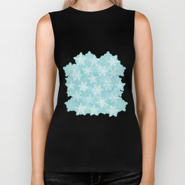 blue winter background with white snowflakes Biker Tank