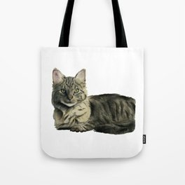 Domestic Medium Hair Cat Watercolor Painting Tote Bag