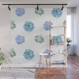 Bue and gren succulents pattern Wall Mural