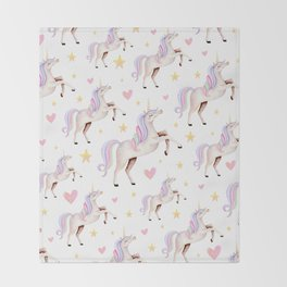 Rainbow Unicorns — Hearts & Stars Throw Blanket