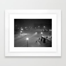 A car in the snowy night. Framed Art Print