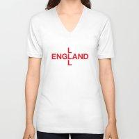 england V-neck T-shirts featuring ENGLAND by eyesblau