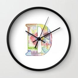 Letter D - Watercolor Monogram - Colorful Lettering - Watercolor Letter Print - Watercolor Initial Wall Clock
