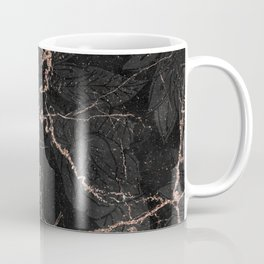 Black rose gold glitter floral abstract marble Coffee Mug