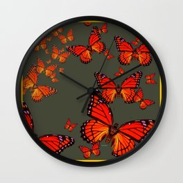 Orange is the  Color Of Monarch Butterflies Wall Clock