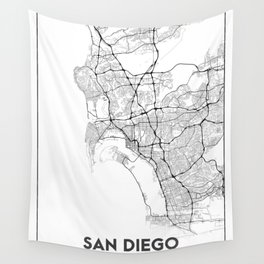 Minimal City Maps - Map Of San Diego, California, United States Wall Tapestry