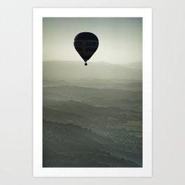 Hot air balloon over the Tuscany, Italy Art Print