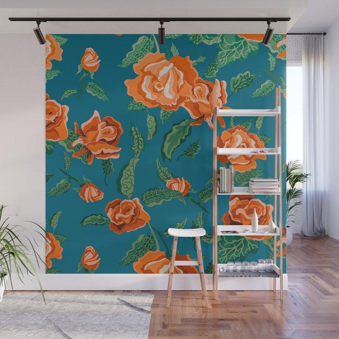 Rosalie #floral #pattern Wall Mural