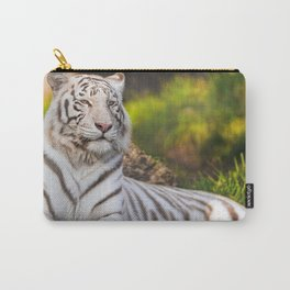 Elegant Noble White Tiger Chilling In Pasture Close Up UHD Carry-All Pouch