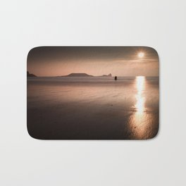 Sunset and wet sand at Worms Head, Gower, Wales Bath Mat