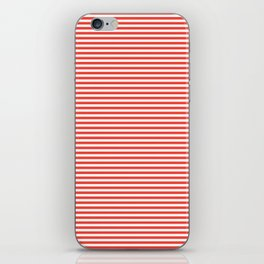Even Horizontal Stripes, Red and White, XS iPhone Skin