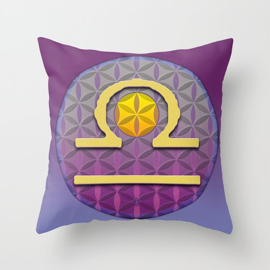 Flower of Life LIBRA Astrology Design Throw Pillow