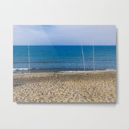 Fishpoles on Beach Metal Print