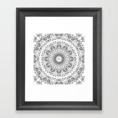 Gray White Floral Mandala Framed Art Print