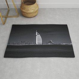 Panoramic View of Dubai Skyline in Black and White Rug