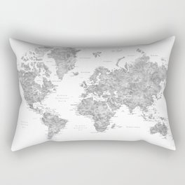 World map with labels in spanish, gray watercolor Rectangular Pillow