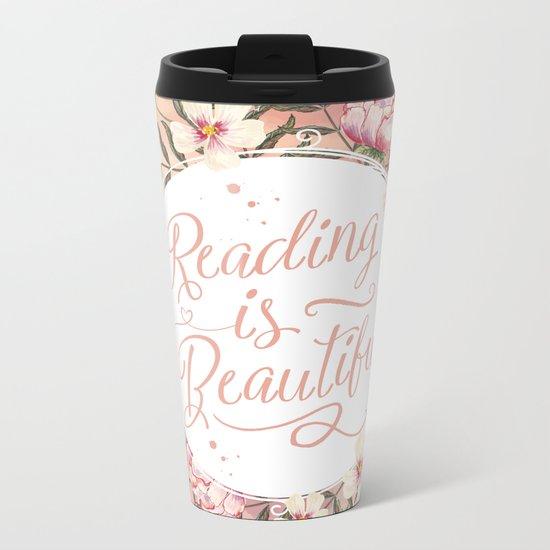 Reading is Beautiful floral wreath Metal Travel Mug
