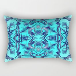 blue Digital pattern with circles and fractals artfully colored design for house and fashion unique Rectangular Pillow