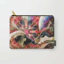 Abstract pink brown artistic puppy love Carry-All Pouch