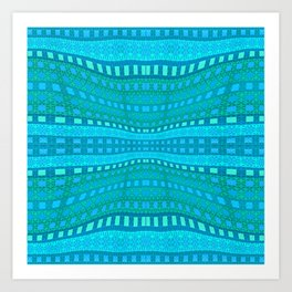 Wavy Aqua Green Intricate Stripes Art Print