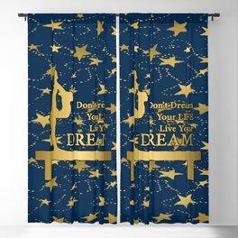 Gymnastics Dream Design on Navy with Gold Stars Blackout Curtain