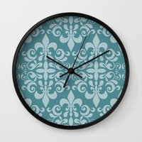 damask Wall Clocks featuring Damask by Xiao Twins