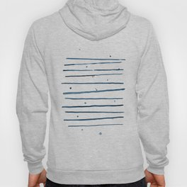 Watercolor horizontal blue lines with dots Hoody