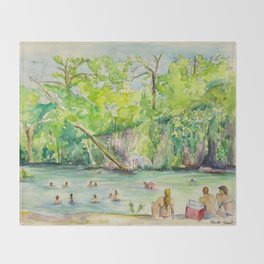 Krause Springs - historic Texas natural springs swimming hole Throw Blanket